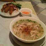 Chicken Pho Soup and Pork/Chicken Wings with Rice - beansprouts were also bought out for the sou