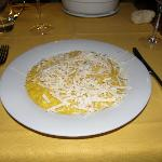 Ice cold grated cheese on top of underdone risotti, Calimero Cafe, Milan