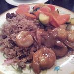 Spicy peanut shrimp with rice and beans