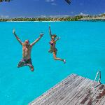 Jumping off our private dock into the most beautiful water!