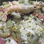 Closer picture of the paella