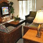 family room (tv is a bit out dated but worked great) Had a DVD player. Furniture was comfortable