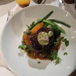 Beef fillet with home grown seasonal vegetables