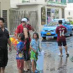Songkran's Festival (Thai New Year 13/14 Apri/) in the street. Take note: you will get wet