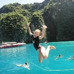Jumping off speedboat at Phi Phi.