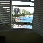 The view from our new ocean corner room to Diamond Head