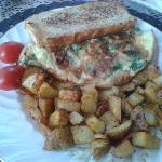 Day 2 - Spinach Omelette with Rosemary Bread and Homemade Hashbrowns.