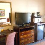 Desk, flat screen TV, refrigerator, and microwave in Room #333