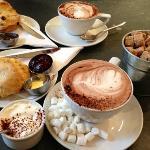 Lovely coffee, hot choc & scones