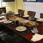 The table laid out for breakfast!