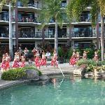 Hula entertainment in the main pool area
