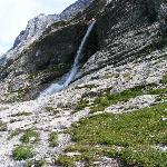 Water streams falling down the Eiger slopes