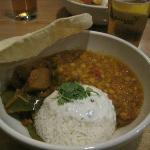 Panji Renga (Indian vegetable curry with daal, yogurt and coriander sauce, papadum, and rice)