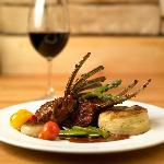 Lamb Chop with grilled asparagus and chive layered potato cake