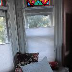 Bay window and stained glass in Parkview room.