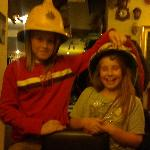 my daughters, trying the many wonderful hats on!