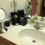 Why is the coffee on the bathroom sink?