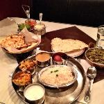 Delcious Indian Cuisine. Thali Dinner with Palak Paneer.