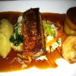 pork belly with prawn fritters