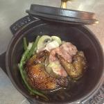 cocotte de pigeon fermier et sabodet, bouillon au choux vert