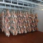 The hams hanging to cure