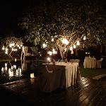 Beautiful dinner setting in the gardens
