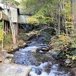 Stream running behind the motel, note building to the left are not part of the motel