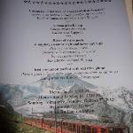 Special Sun / Sat dinner menu prepared by hotel