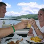 Open air dining with the best view of Lake George