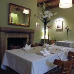 cosy and beautiful dinning room with fresh white lilium