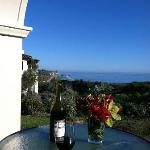 Terrace off our suite with welcome bottle of wine & flowers