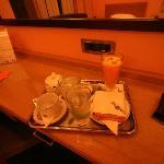 room service: orange juice, tea, toast