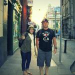 My brother and I standing in front of Temple Bar Hotel