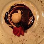 Triple Chocolate Brownie w/vanilla ice cream and chocolate sauce