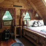 The loft inside the Lovers Loft cabin