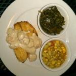 Charleston Tilapia w/succotash & collard greens