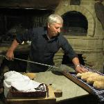 Homemade bread going into the dining room oven at Malvarina