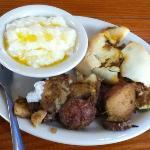 brisket kolache, potatoes, grits