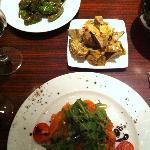 salmon tartar and vegetable sides