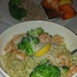Salmon on a Cedar Plank and Shrimp and Broccoli with Pesto Sauce on Linguini