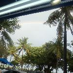 Rainbow came out while sitting on the front area of the hotel