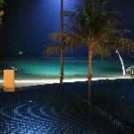Pool and beach by night
