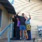 Blanca, Gary, and Mary waving good bye as we left