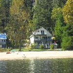 View of Willow Point Beach House B&B fom the paddleboat