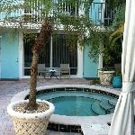 Spa-first floor rooms overlook pool area
