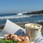 Lobster roll and chowder with a view