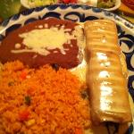 Chicken Chimichanga with rice & beans