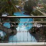 view from room terrace facing the main pool. room 7204