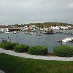 View across harbor and walking bridge