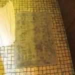 Nasty, soiled bathroom rug that should have been thrown out years ago.
